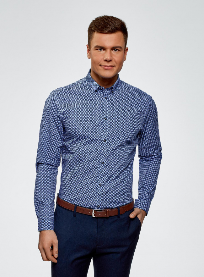 Рубашка принтованная из хлопка oodji #SECTION_NAME# (синий), 3B110027M/19370N/7079G