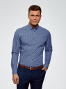 Рубашка принтованная из хлопка oodji #SECTION_NAME# (синий), 3B110027M/19370N/7079G - вид 2