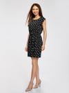 Платье без рукавов из принтованной вискозы oodji #SECTION_NAME# (черный), 11910073-1M/26346/2912A - вид 6