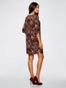 Платье принтованное прямого силуэта oodji #SECTION_NAME# (коричневый), 21900322-1/42913/4954F - вид 3