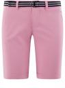 Шорты хлопковые с ремнем oodji #SECTION_NAME# (розовый), 12807089/48153/8000N