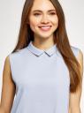 Топ базовый из струящейся ткани oodji для женщины (синий), 14911006B/43414/7000N