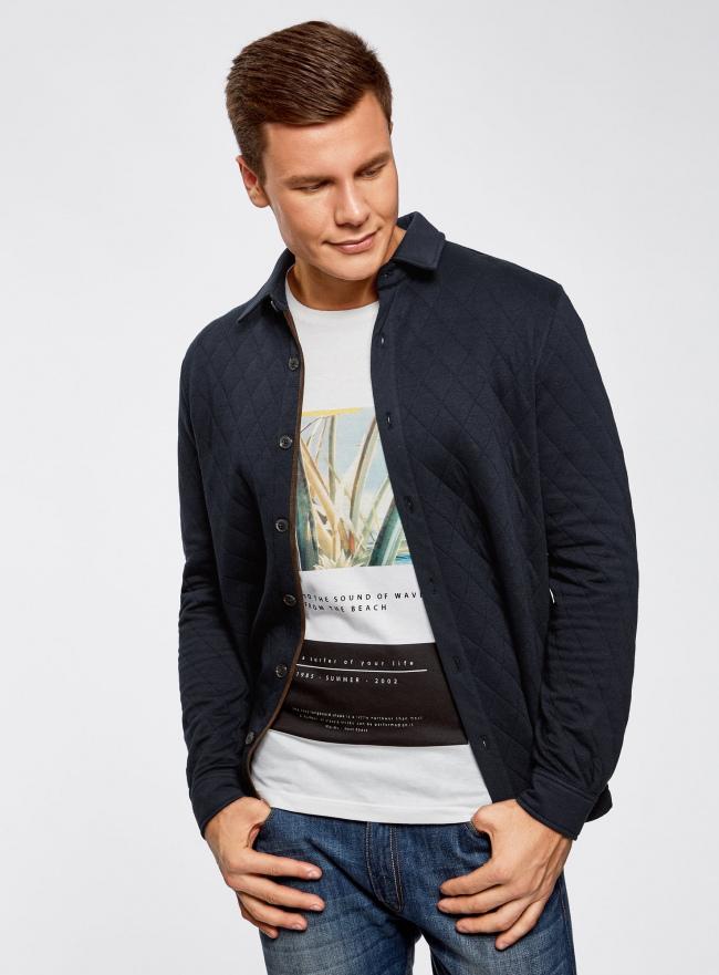 Рубашка трикотажная из фактурной ткани oodji #SECTION_NAME# (синий), 5L902005M/47164N/7900N