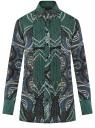 Блузка свободного силуэта с декоративными отстрочками на груди oodji #SECTION_NAME# (зеленый), 21411110/42549/6975E