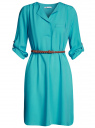 Платье вискозное с ремнем oodji #SECTION_NAME# (бирюзовый), 11900180B/42540/6D00N