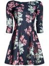 Платье трикотажное принтованное oodji #SECTION_NAME# (синий), 14001150-3/33038/7941F