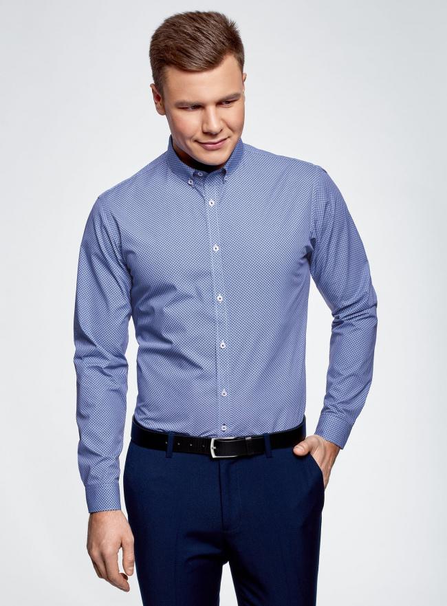 Рубашка хлопковая в мелкую графику oodji #SECTION_NAME# (синий), 3L110314M/19370N/1075G