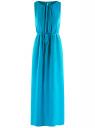 Платье макси с резинкой на талии и завязками oodji для женщины (синий), 21900323-1/42873/7500N