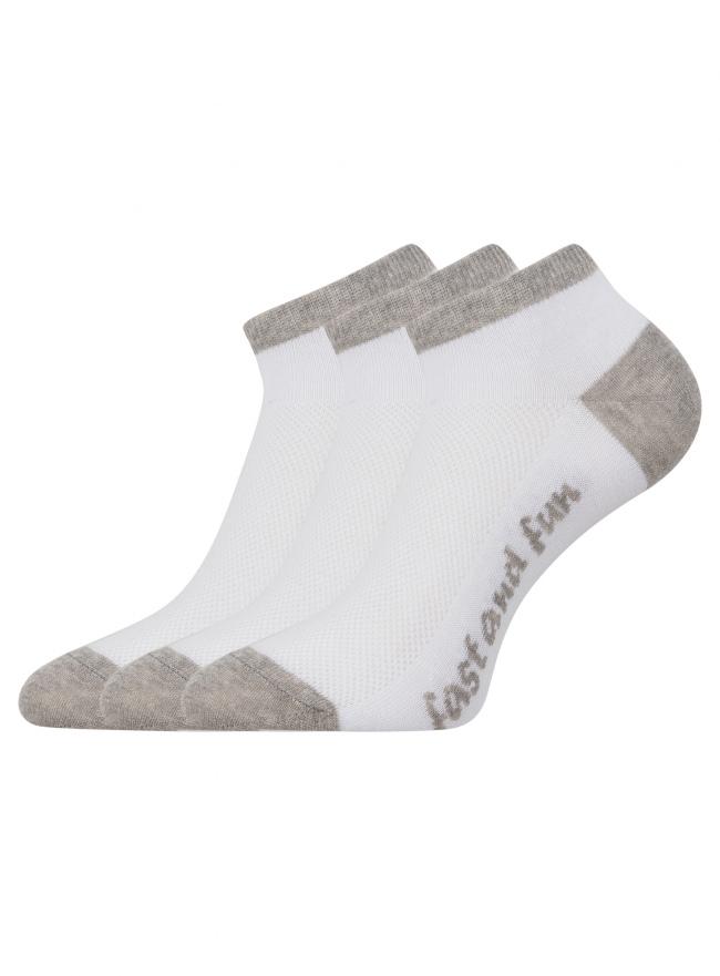 Комплект из трех пар укороченных носков oodji для женщины (белый), 57102605T3/48022/16