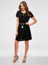 Платье с вырезом-капелькой и поясом на резинке oodji #SECTION_NAME# (черный), 11913043/46633/2900N - вид 6