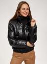 Куртка утепленная из искусственной кожи oodji для женщины (черный), 18A03011/50427/2900N