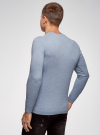 Пуловер базовый с V-образным вырезом oodji для мужчины (синий), 4B212007M-1/34390N/7001M - вид 3
