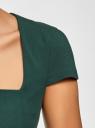 Платье-футляр из плотной ткани с квадратным вырезом oodji для женщины (зеленый), 21902065/31291/6900N