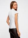 Рубашка с коротким рукавом из хлопка oodji для женщины (белый), 11403196-3/26357/1000N