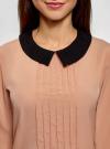 Блузка из струящейся ткани с контрастным воротником oodji #SECTION_NAME# (бежевый), 11411117-1B/49474/3529B - вид 4