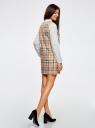 Платье клетчатое без рукавов oodji для женщины (бежевый), 11910072-2/32831/3529C
