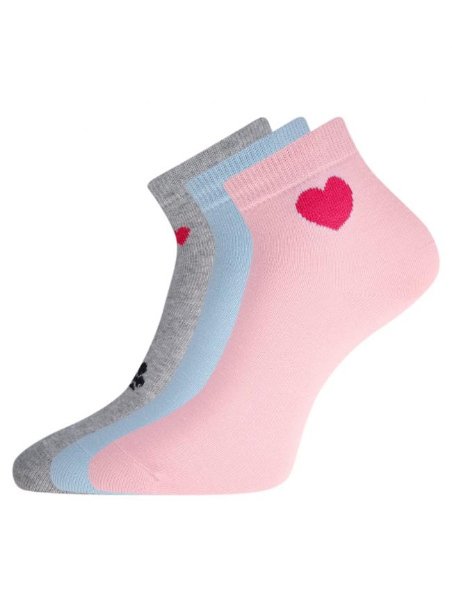 Комплект из трех пар укороченных носков oodji для женщины (разноцветный), 57102418T3/47469/55