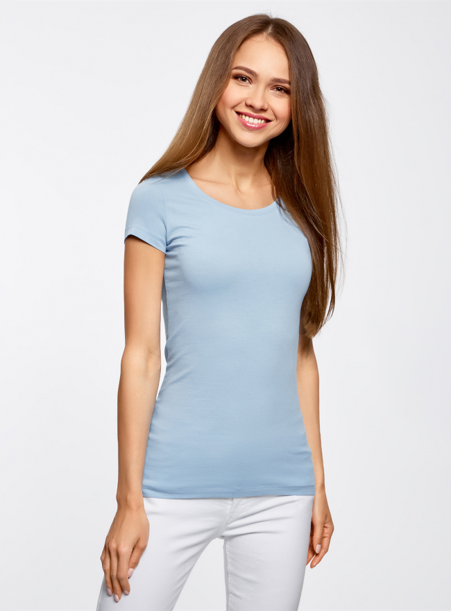 Комплект приталенных футболок (2 штуки) oodji для женщины (синий), 14701005T2/46147/7000N