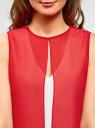 Блузка двуцветная многослойная oodji #SECTION_NAME# (красный), 14901418/26546/124DB - вид 4