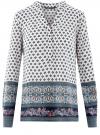 Блузка прямого силуэта с V-образным вырезом oodji #SECTION_NAME# (разноцветный), 21400394-3/24681/1279E