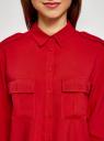 Блузка базовая из вискозы с нагрудными карманами oodji #SECTION_NAME# (красный), 11411127B/26346/4500N - вид 4