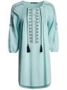 Платье вискозное с вышивкой и декоративными завязками oodji #SECTION_NAME# (бирюзовый), 21914003/33471/7300N