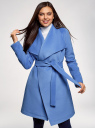 Пальто без застежки с поясом oodji #SECTION_NAME# (синий), 10104042-1/47736/7500N - вид 2