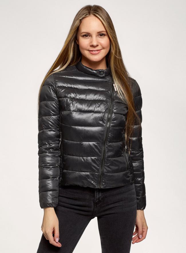 Куртка стеганая с косой молнией oodji для женщины (черный), 10204073-1/33445/2900N