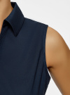 Рубашка базовая без рукавов oodji для женщины (синий), 11405063-6/45510/7900N - вид 4