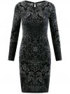 Платье трикотажное с этническим принтом oodji #SECTION_NAME# (черный), 24001070-4/15640/2923E