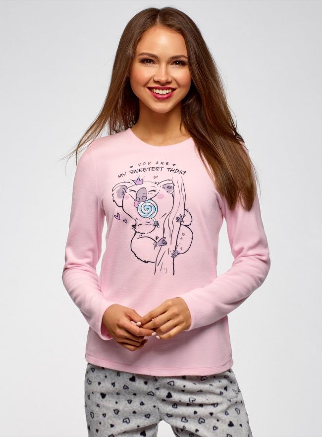 Джемпер прямого силуэта с принтом oodji #SECTION_NAME# (розовый), 59811012-2/24336/4075P