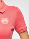 Поло с металлическими пуговицами и вышивкой на груди oodji #SECTION_NAME# (розовый), 29311001/39813N/4D00N - вид 5