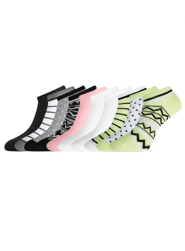 Комплект укороченных носков (10 пар) oodji для женщины (разноцветный), 57102433T10/47469/23