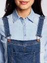 Комбинезон джинсовый с нагрудным карманом oodji для женщины (синий), 13108004/45379/7900W