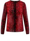 Блузка из струящейся ткани с контрастной отделкой oodji #SECTION_NAME# (красный), 11411059-2/38375/4529A
