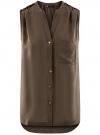 Блузка без рукавов с металлическими кнопками oodji #SECTION_NAME# (коричневый), 21412131/35251/3700N
