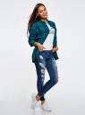 Рубашка свободного силуэта клетчатая oodji для женщины (зеленый), 11400432/43114/6E75C
