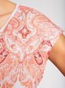 Футболка принтованная с шифоновой спинкой oodji для женщины (розовый), 14700005-5R/45475/1043P