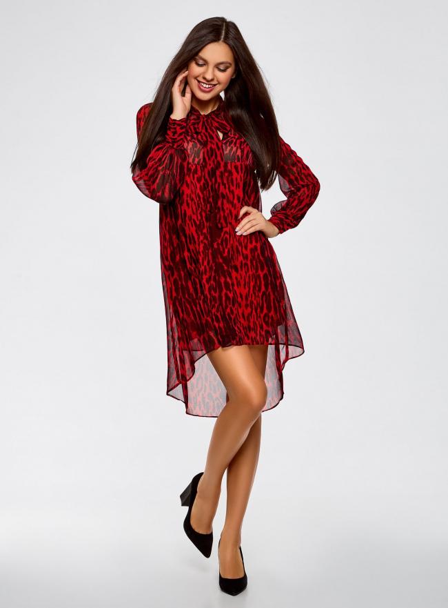 Платье шифоновое с асимметричным низом oodji #SECTION_NAME# (красный), 11913032/38375/4529A