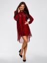Платье шифоновое с асимметричным низом oodji #SECTION_NAME# (красный), 11913032/38375/4529A - вид 2