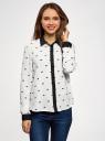 Блузка из струящейся ткани с контрастной отделкой oodji для женщины (слоновая кость), 11400368-1/32823/3029Q