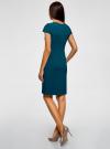 Платье-футляр из плотной ткани с квадратным вырезом oodji #SECTION_NAME# (синий), 21902065/31291/7400N - вид 3
