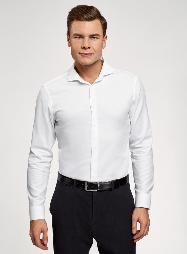Рубашка приталенная с длинным рукавом oodji для мужчины (белый), 3B110037M/49719N/1000O