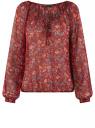 Блузка принтованная с завязками oodji #SECTION_NAME# (красный), 21418013-2/17358/4975F