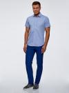 Рубашка приталенная с коротким рукавом oodji #SECTION_NAME# (синий), 3L210038M/19370N/7510G - вид 6