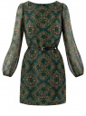 Платье из шифона с ремнем oodji для женщины (зеленый), 11900150-5/13632/6957E