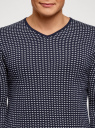 Пуловер прямого силуэта с контрастной отделкой oodji #SECTION_NAME# (синий), 4L212171M/25255N/7910J - вид 4