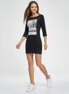 Платье трикотажное с принтом oodji #SECTION_NAME# (черный), 14001071-12/46148/2900P - вид 6