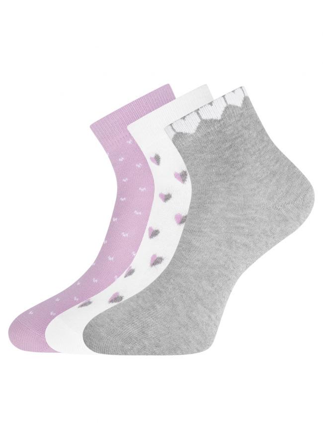 Комплект из трех пар укороченных носков oodji для женщины (разноцветный), 57102418T3/47469/62