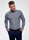 Рубашка базовая из хлопка  oodji для мужчины (синий), 3B110026M/19370N/1075G - вид 2